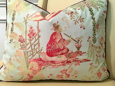 ROBERT ALLEN CHINOISERIE BLUE With FABRICUT RAYON TRIM PILLOW