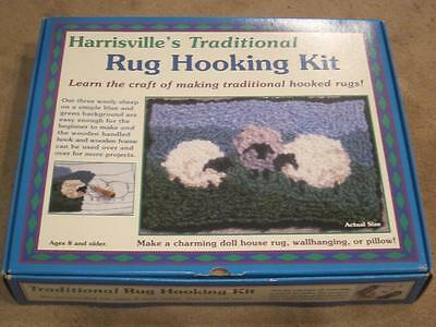 Harrisville's Traditional Rug Hooking Kit Beginners THREE WOOLLY SHEEP NEW Open