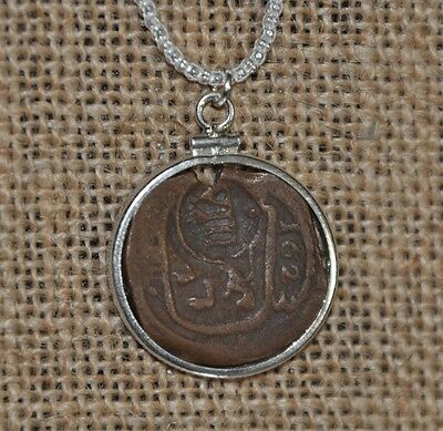 Authentic 1623 Pirate Copper Cob Maravedis Coin 925 Sterling Silver Necklace