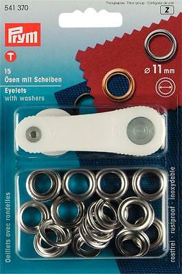 Prym 15 eyelets with discs Eyelet silver 11 mm Buttons Eyelets Rivets 541370