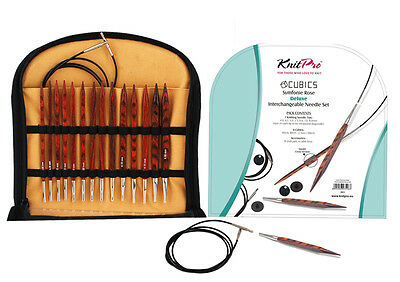 KnitPro Symfonie Rose CUBICS Deluxe Art. 25613, Wood Needle Set, Needle tips