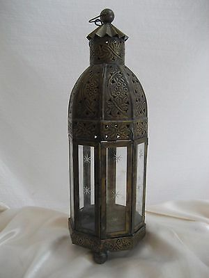 Vintage Candle Lantern Brass Tone Metal With Glass Panels Table or Hang India