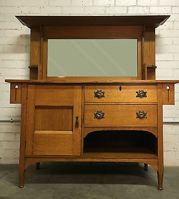 Arts and Crafts Antique Buffet Solid Tiger Oak Craftsman Nouveau