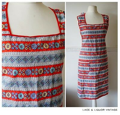 GREAT vtg 1950s RED BLUE FLORAL STRIPE FULL LENGTH PROVAWEAR APRON PINNY