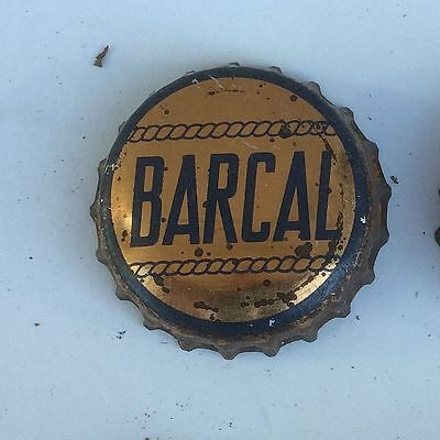 1940's cork lined cap crown BARCAL water SODA can bottle acl label paper blob