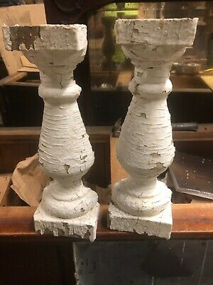 pair vintage victorian age turned half balusters chippy paint 16.5/5.5/5 x 3""