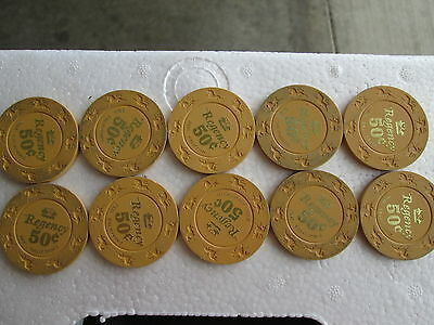 lot of 10 quantity 10 Regency casino California .50 unicorn 50 cents