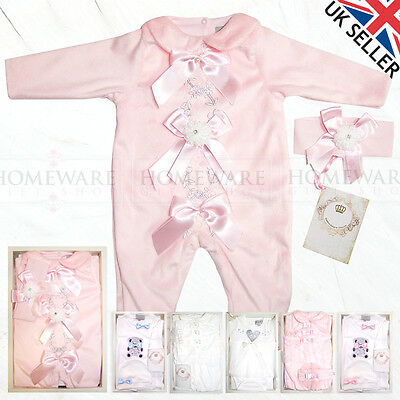 Baby Girls Spanish Romper Dress Sets Bows Diamonte Boxed Gift Pink Ivory 0 -12M