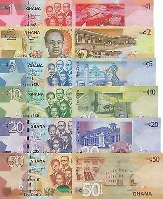 Ghana 6 Note Set: 1 to 50 Cedis (2014/2015) - p37-New to p41-New UNC