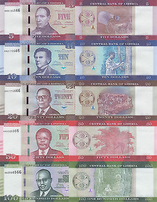 Liberia 5 Note Set: 5 to 100 Dollars (2016) - All pNew UNC
