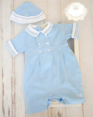 Baby Boy Spanish Set in a Box Gift Outfit Sky Blue Navy White 0 - 12m Diamonte