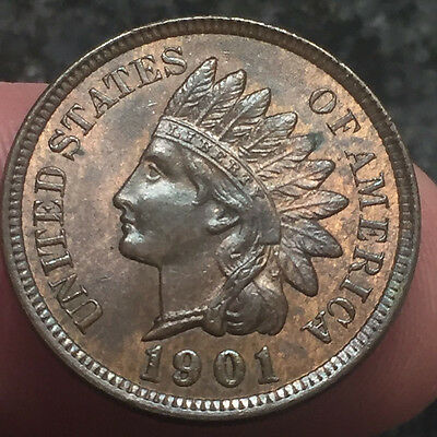1901 - Indian Head Cent - Red/Brown Full Liberty 4/Diamond