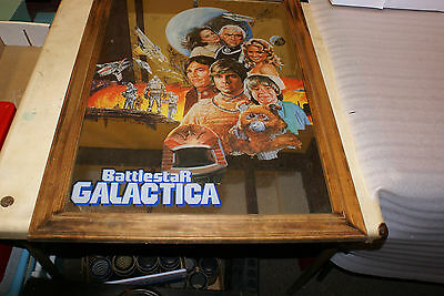 Vintage 1970s Battlestar Galactica Framed Mirror Large 32in x 23in