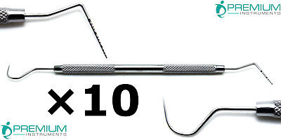 10× Dental Williams Explorer UNC 15/23 Color Coded Probe Double Ended Instrument