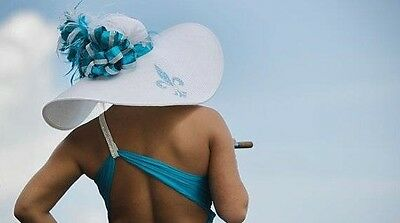 Kentucky Derby hat, wide brim hat, church hat, turquoise, blue, white