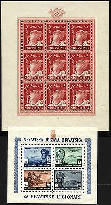 GERMAN Occupation CROATIA Horvatia Scott# B37 B54 Souvenir Sheets 1943-1944 MNH