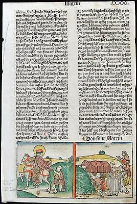 1488 HAND COLORED Leaf Legend Of The Saints LAND Of The HOLY Rubricated RARE