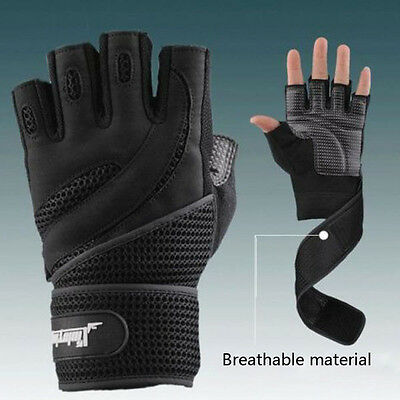 Men Weightlifting Gym Training Sports Fitness Gloves Wrist Wrap Workout MG