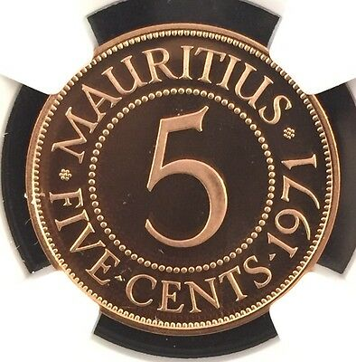 1971 Mauritius 5 Cents Ngc Proof Pf68 Red Ultra Cameo
