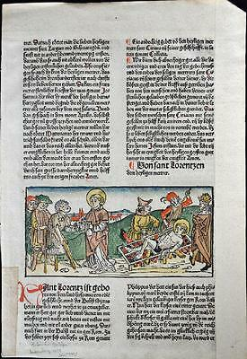 1488 HAND COLORED Leaf Legend Of The Saints, BURNT At The STAKE Rubricated RARE