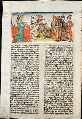 1488 HAND COLORED Leaf Legend Of The Saints, Martyr,TORTURE, Rubricated RARE