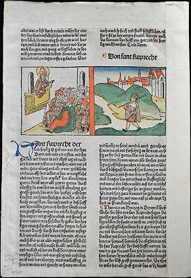 1488 HAND COLORED Leaf Legend Of The Saints SAINT RUPRECHT Rubricated RARE