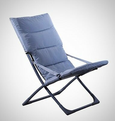 Portable Folding Garden Deck Chair Patio Beach Outdoor Yard Furniture Gray New