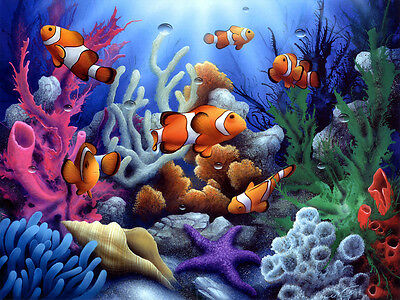 Underwater World Clown Fish Oil painting wall art Printed on canvas L1361
