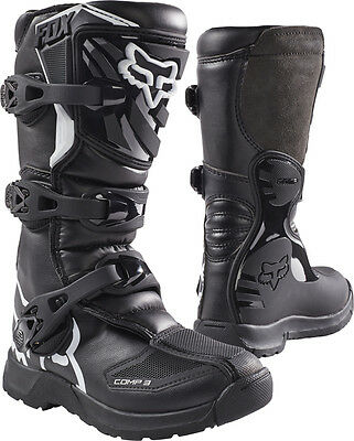 New 2018 Fox Racing Comp 3 Youth Mx Offroad Boots Black All Sizes- Youth