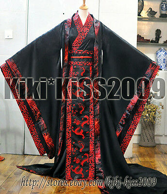 Chinese HanFu Kimono Tan Dynasty Black&Red Dragon Robe Cosplay Custom Made