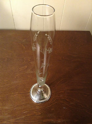 Duchin Creation-Weighted 925 Sterling Silver Etched Glass Bud Vase