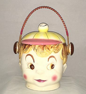 Grant Crest Girl With Baseball Cap Wicker Handle Biscuit Or Cookie Jar
