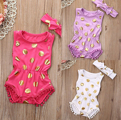 Cute Newborn Infant Baby Girls Polka Dot Romper Clothes Outfits Set Summer 0-18M