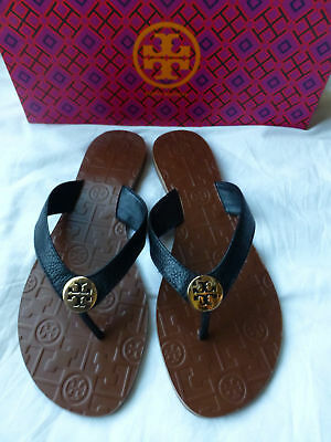 8478c5d2c3b5 TORY BURCH THORA Black Gold Logo Tumbled Leather Size 11 New ...