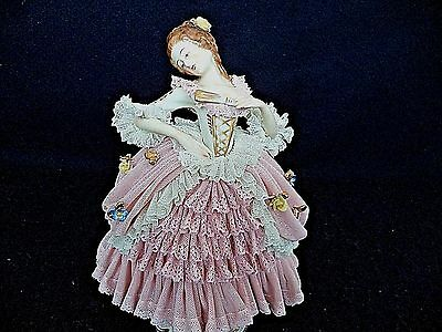 Dresden Lace lg porcelain figurine dancing woman w fan head tilted 8.75in German