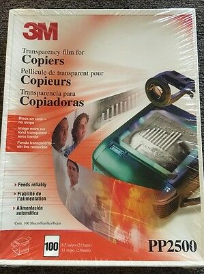 3M Transparency Film For Copiers PP2500 100 Sheets 8.5x11 Factory Sealed New