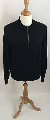 Men's PETER MILLAR XL Black 100% Merino Wool 1/4 Zip Sweater