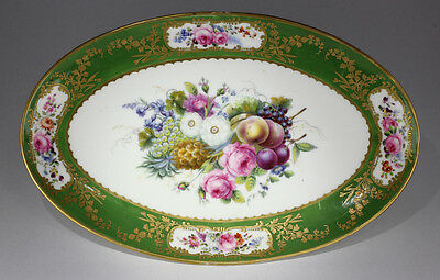 Sèvres oval dish, London decorated, fruit flowers & a pineapple, c. 1820.