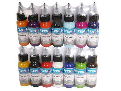 Pack 14 Couleurs Encre Tatouage Pro 30ml Colors Tattoo Ink Intenze Prod