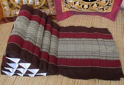 Thai Traditional Triangle unfilled Pillow Case 15 Segments 1 Panel Brown Red