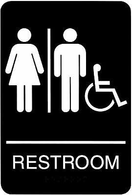 Headline Sign 9007 ADA Wheelchair Accessible Restroom with Tactile Graphic 6-...