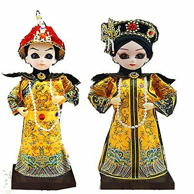 9''/22cm 2Pcs Vintage Chinese Doll Emperor and Empress of Qing Dynasty Spouse