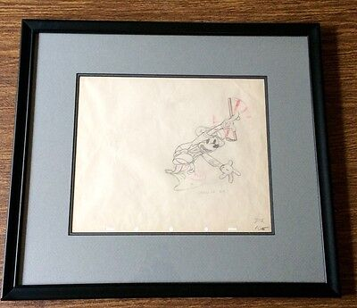 Vintage Mickey Mouse Production Drawing Cel 1930s Disney Framed
