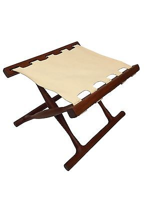 Danish Mid Century Modern Folding Teak Foot Stool Ottoman Chair,  Poul Hundevad