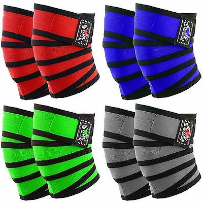 Knee Wraps Weight Lifting Bandage Straps Braces Sleeves Powerlifting Gym 5 Color