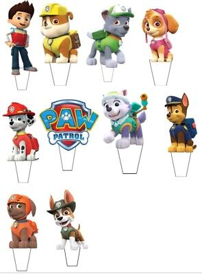 24 Paw Patrol STAND UP Cupcake PRE-CUT Topper Edible Paper Decorations edible