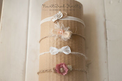 Set Of Four Tiebacks/Headbands-Handmade Newborn to Sitter Photography Photo Prop