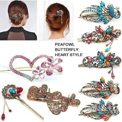 Colorful Women Retro Crystal Butterfly Flower Hairpins Hair Stick Hair Clip^DB