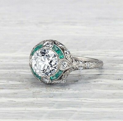 2Ct Off White Moissanite Vintage Art Deco Engagement Ring Wedding 925 Silver