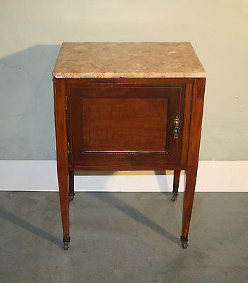 Antique Edwardian inlaid mahogany marble side cabinet bedside table 1910